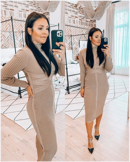 Body con form fitted dress- super high quality & comes in many colors. Wearing medium but could prob wear small.  Designer style pumps   http://liketk.it/3eSkn #liketkit @liketoknow.it #LTKunder100 #LTKstyletip
