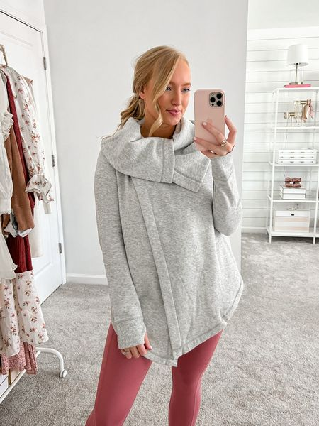 Loving this athleisure jacket! Wearing a size small and it buttons closed or can be worn open. Wearing a medium in these pink Zella leggings