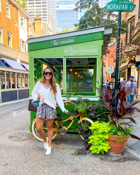 """Philly hits 80° and I require a sweater 🙃 as Kyle said """"I forgot how much I loved a city"""" 🤍 can't beat exploring the neighborhood with friends, sitting outside at a restaurant for 3+ hours, running into Hokies, and getting ready to celebrate Meg getting married tonight!!! Life is happy in Philly today 🥰💯✨🌱 // #phillyexploring #southernanchors #founditonamazon #rdbabe   #LTKSeasonal #LTKtravel #LTKshoecrush"""
