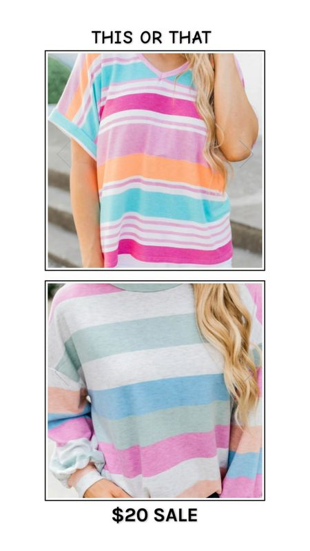 Pink Lily Boutique $20 sale - limited time! Short sleeve or long sleeve striped tee? Multicolored bright striped t shirt top, pastel stripe pink and blue long sleeve top. http://liketk.it/3fktN @liketoknow.it #liketkit #LTKsalealert #LTKunder50 #LTKunder100