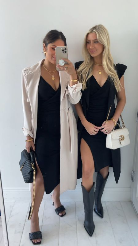 Take 50% OFF these trench coats until 11:59 pm tomorrow! I'm wearing sz small in the tan trench coat and a size XXS in the dress and Corryn is wearing a sz XXS in the dress and sleeveless trench coat. Take 15% OFF our dresses with code: HAUTE15 … #falloutfit #trenchcoat #fallfashion #fallstyle  #lbd #blackdress #mididress #guccibag  #LTKshoecrush #LTKunder100 #LTKsalealert