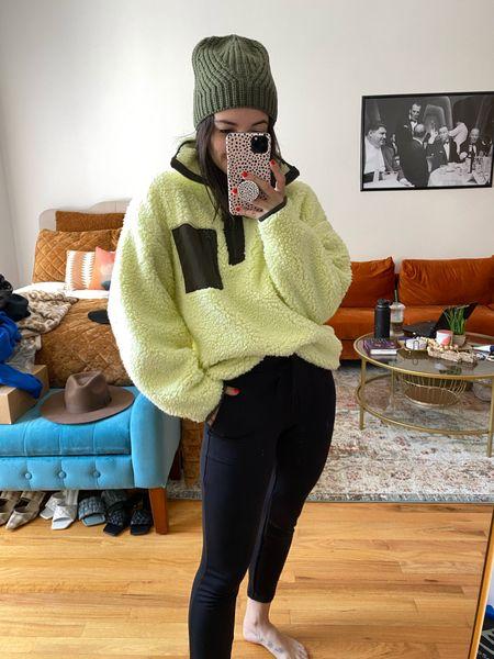 Sherpa Pullover Fall outfit  Sweats Black sweatpants Beanie   #LTKtravel #LTKunder100 #LTKstyletip