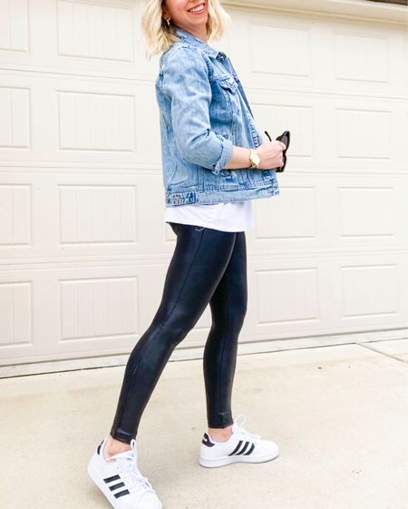Casual style   Jean jacket- sized up to a medium Sneakers - true to size -wearing 7.5 Spanx leggings - small petite     Old navy , jean jacket , spanx , faux leather leggings , amazon fashion, amazon finds , casual mom style , casual style , weekend outfit , fall trends , women's clothes #ltkunder50 #ltkfit #ltktravel  #ltkholiday #ltkgiftguide nordstrom style  #LTKshoecrush #LTKSeasonal #LTKunder100