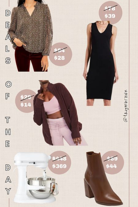 Daily deals, gift ideas  Fleece jacket, little black dress, sweater dress, work blouse, kitchenaid mixer, chocolate boots, brown booties   #LTKunder100 #LTKunder50 #LTKsalealert