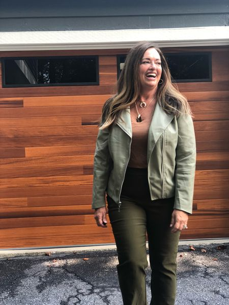 Now that we are officially in the Fall season….  Have you heard that the color green is trending for Fall? Emerald. Sage, Kelly  Insert fabulous faux Sage moto jacket.. paired with olive straight pants #gifted  @lovechicos and my favorite coffee color tee!!  ❤️   #LTKworkwear #LTKcurves #LTKSeasonal