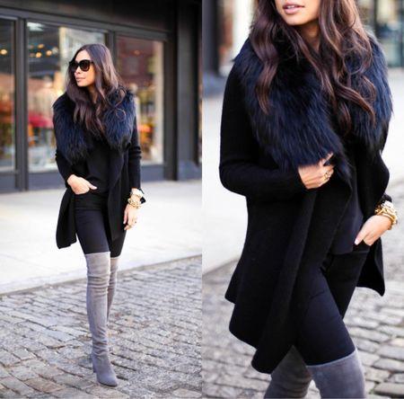 Grey over the knee boots with a black wool coat. #fallstyle #otkboots  #LTKSeasonal #LTKshoecrush #LTKstyletip