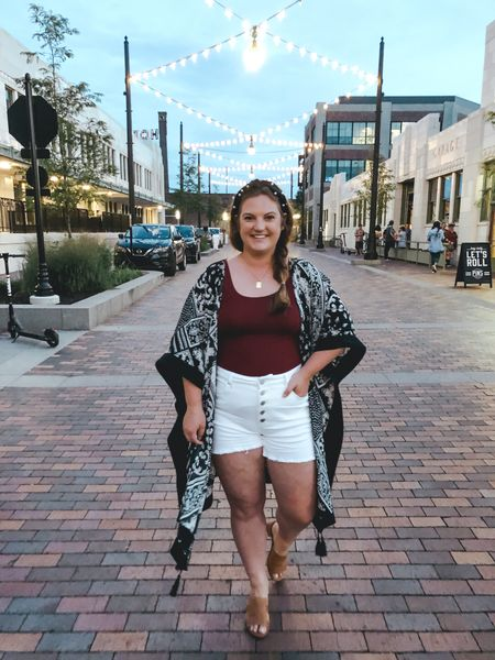 Kimono // white shorts // summer outfit // casual outfits // elevated summer look // date night   #LTKstyletip #LTKcurves #LTKunder50