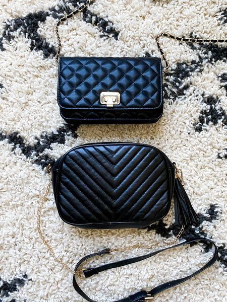 Black faux leather crossbody bag with chain  #LTKitbag #LTKunder50 #LTKunder100