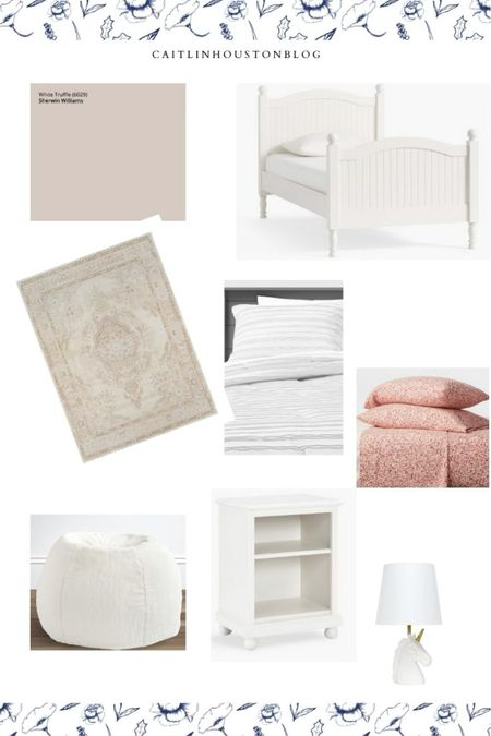 Neutral girls bedroom with blush and dusty rose details - Catalina furniture from Pottery Barn Kids   #LTKhome #LTKkids #LTKfamily