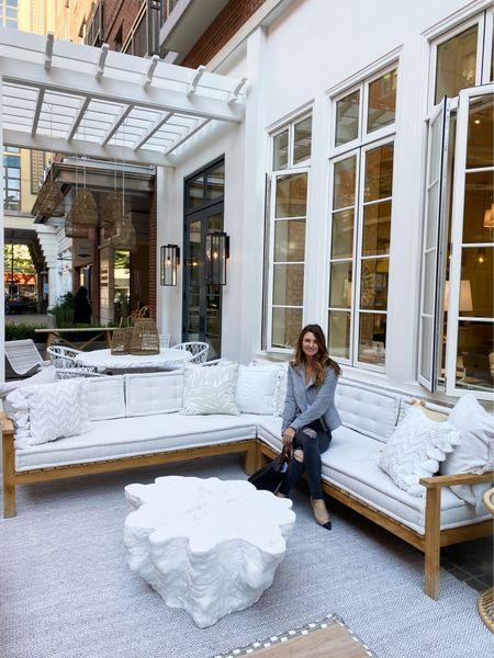 Serena and lily, patio furniture, teak furniture, outdoor furniture, pool house, coastal decor, coffee table   #LTKCyberweek #LTKhome