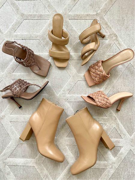 Nude traditional shoes for going into fall! #shoes #nudeheels #wovenheels #doublestrapheels #nudebooties #marcfisher   #LTKstyletip #LTKshoecrush #LTKunder100