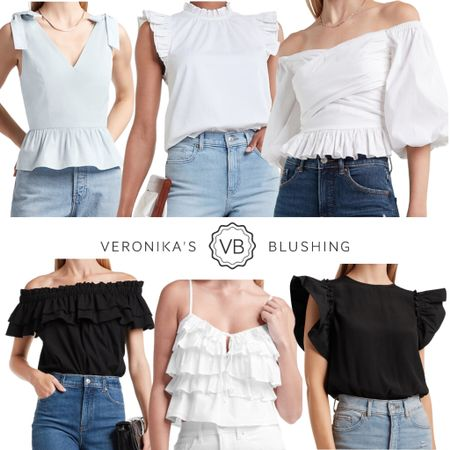 How pretty are all of these tops?! Layered ruffles, bow tie shoulders and dramatic ruffle sleeves? Yes please!