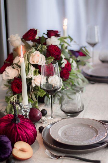 Dining table decor, wine glasses, glasses, dinnerware, candle holders, grey, moody decor, pumpkins, fall decor, Halloween   #LTKhome #LTKstyletip #LTKHoliday