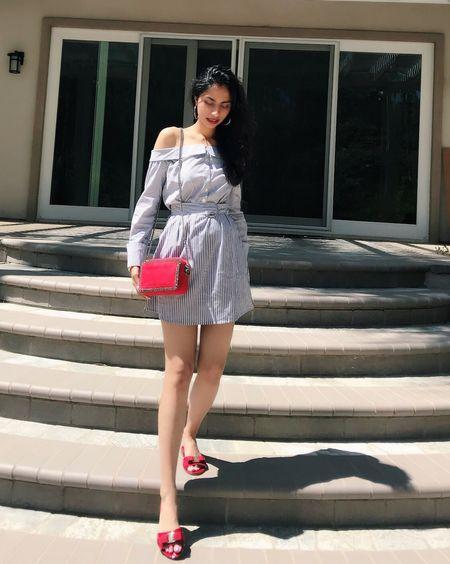 The best way to get over your blue days? Add a pop of red ♥️✨💋 Happy Humpday!! #socialite #offshoulderdress #stripeddress #socialitedress #fashionblogger #ferragamoshoes #salvatoreferragamo #redbag #stellamccartney #stellamccartneyfalabella #fbloggers #todayslook #wiwt #chicstyle #outfittoday #styleblogger #luxuryfashion #blueandred #redwhiteandblue #liketkit @liketoknow.it http://liketk.it/2we7T