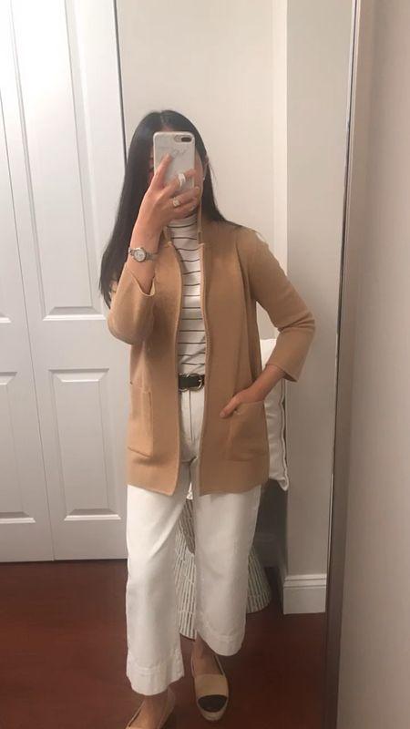 Sweater blazer (XXS) on this mid 60's day  Mock neck tee (XXS) Belt (XS) Wide leg off white jeans (24/00 petite - sized down since I usually wear 25/0 petite)   @liketoknow.it http://liketk.it/2WOtH #liketkit   #LTKworkwear #LTKunder100 #LTKstyletip