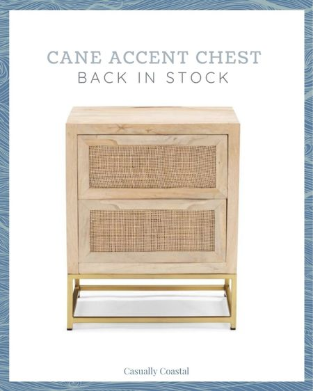 This gorgeous two-drawer cane accent chest just came back in stock, but has been quick to sell out in the past. It would be perfect as an end table in a living room, or as a nightstand in a bedroom. The three-drawer chest (also linked) is currently still out of stock but is estimated to be re-stocked on June 27th.   @liketoknow.it @liketoknow.it.home #liketkit #LTKhome #LTKstyletip http://liketk.it/3hcmE   coastal decor, beach house decor, beach decor, beach style, coastal home, coastal home decor, coastal decorating, coastal house decor, home accessories decor, coastal accessories, beach style, blue and white home, coastal interiors, modern coastal, coastal bedroom, coastal living room, accent chests, accent chest with drawers, coastal nightstand, coastal end table, end tables, end table decor, living room end tables, living room end table decor, living room side tables, living room side table decor, coastal end tables, coastal side tables, square side tables, square end tables, cane accent table, cane chest, cane furniture, cane nightstands, cane end table, bedroom furniture, living room furniture, wayfair nightstands, wayfair end tables