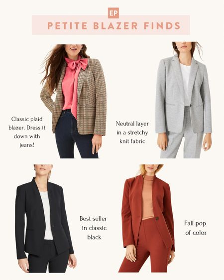 Sale alert: 50% off + free shipping at Ann Taylor with code CYBERFALL  4 petite friendly blazers for work outfits or casual wear. Pair a plaid blazer with jeans for a stylish + on trend fall outfit   #petite  #LTKsalealert #LTKstyletip #LTKSeasonal
