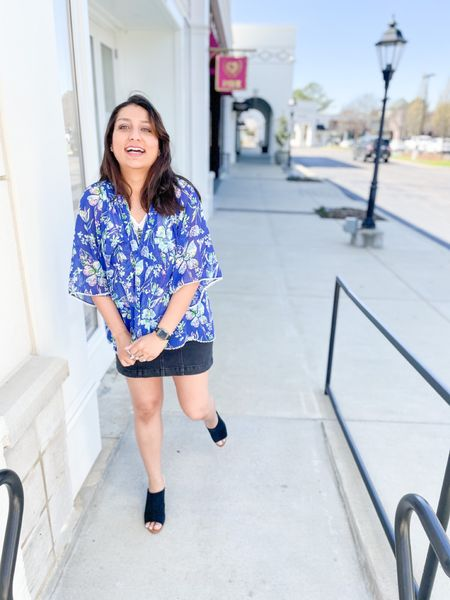 Bring you hump day vibes with this nice floral cardigan. 💙 What's your favorite piece of clothing, that you own? 👗 : You can instantly shop my looks by following me on the LIKEtoKNOW.it shopping app @liketoknow.it #liketkit    •⠀⠀ • •⠀⠀ •⠀⠀ • •⠀⠀ #memphisblogger #desiblogger #indianblogger #LTKblogger #memphistn #denimskirts #denimskirt #denimskirtoutfit #blackdenimskirt #blackmules #blackmuleshoes #blackwedges #bluecardigan #floralcardigan #airportoutfit