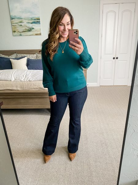 Gibsonlook x Hi Sugarplum Season of Cheer Holiday Collection   Fit Tips: Silver Bella Blouson Sleeve Sweater tts, L // WHBM Flare Jeans tts, 12 but run long   #LTKstyletip #LTKSeasonal #LTKHoliday