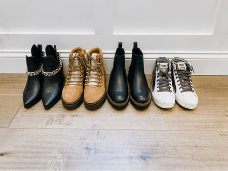 Nordstrom Anniversary Shoes! All are still stocked in sizes!   Steve Madden black booties with chain  Marc Fisher Lace Up Bootie  Nordstrom Brand Chelsea Boot - water resistant   P448 high top sneakers   Nordstrom Anniversary Sale, fall shoes, booties, waterproof booties, black booties, tan booties, sneakers     #LTKshoecrush #LTKsalealert #LTKunder100