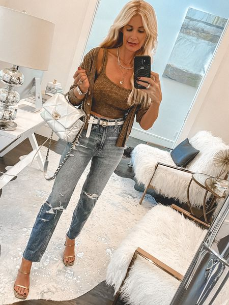 Because you can never go wrong with a cardigan set and really good denim!! Both run tts, wearing an XS in the set and a 24 the jeans.   #LTKstyletip #LTKunder100 #LTKitbag