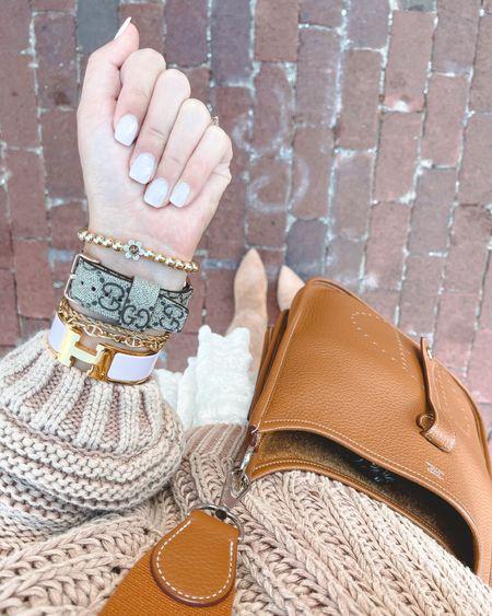 Gucci designer Apple Watch band with gold bracelets from Baublebar and Hermès h bracelet with Hermès evelyne in gold       #LTKunder100 #LTKstyletip #LTKunder50