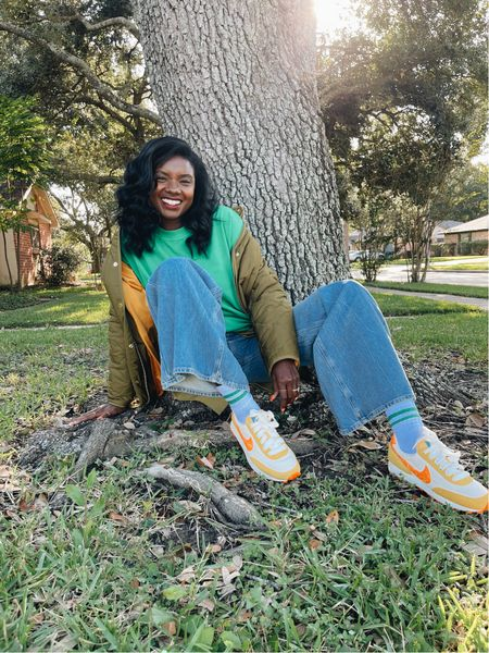Fun hiking outfit! Green oversized sweatshirt, Nike DB sneakers in yellow and orange, wide leg denim jeans, olive quilted puffer jacket and a chartreuse long sleeve sweater.   #LTKunder100 #LTKstyletip #LTKHoliday