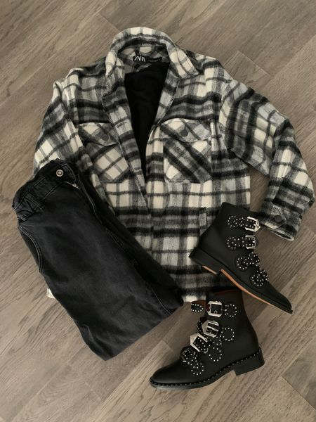 We're in luck! Shackets are still a thing! Shirt jacket. Fall jacket. Plaid jacket. Plaid shirt. Fall outerwear. I invested in the shoes and kept everything else under $40! My shacket is last year Zara sale. I linked similar styles below. Fall style. Black boots. Black studded boots. Lauered look. Mom style. Back to school outfit. Target style.  #LTKstyletip #LTKunder50 #LTKbacktoschool