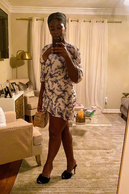 Flirty little date night look! Floral mini dress with ruffles, black mink mules, and a wooden grab bag.  #LTKshoecrush