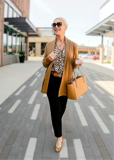 Leopard / Sweater Blazer / Street Look / Blazer Look / Work Blazer / Workwear / Work Wear / Office Look / Office Outfit / Business Casual / Office Casual / Work Outfit / Tory Burch / Kate Spade /  Coach Handbags / Handbag /petite / over 40 / over 50 / over 60 / Fall Outfit / Fall Fashion / Teacher Outfit   #LTKSeasonal #LTKitbag #LTKworkwear