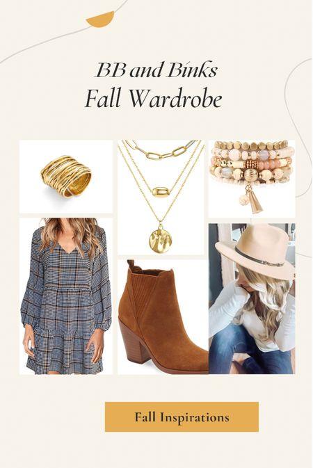 Fall Wardrobe Inspiration  Dress, jewelry, hat, and booties  #LTKstyletip #LTKunder50 #LTKSeasonal