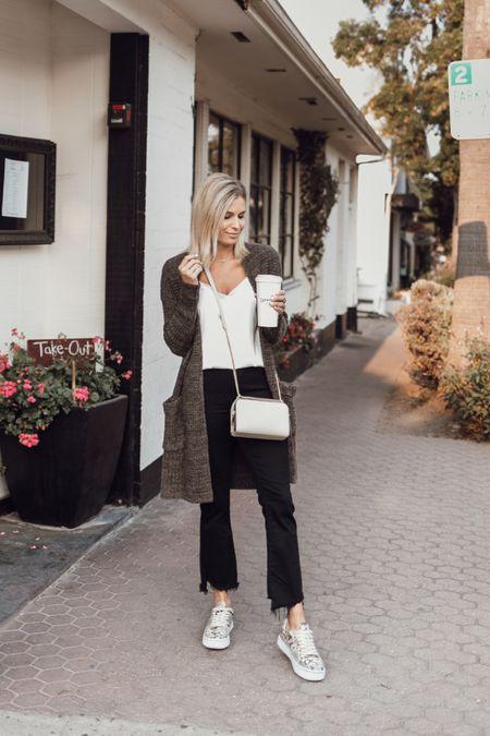 White cami with a brown cardigan and denim 🖤✨  #LTKSeasonal #LTKstyletip #LTKunder100