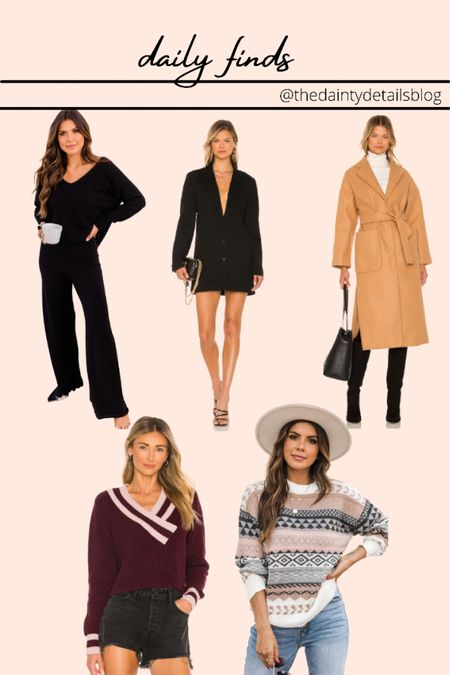 Wool coat Camel coat Lounge set Blazer dress Fair isle sweater Varsity sweater   #LTKunder100 #LTKHoliday #LTKSeasonal