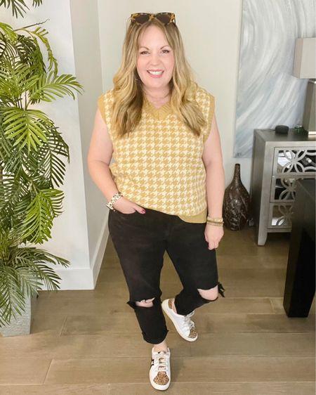 Houndstooth sweater vest, mom jeans, star sneakers  #LTKunder50 #LTKstyletip #LTKworkwear