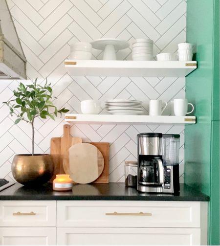 Kitchen decor, styling, topiary, coffee maker, wood cutting board, fall candle, brass bowl planter   #LTKSeasonal #LTKunder100 #LTKhome