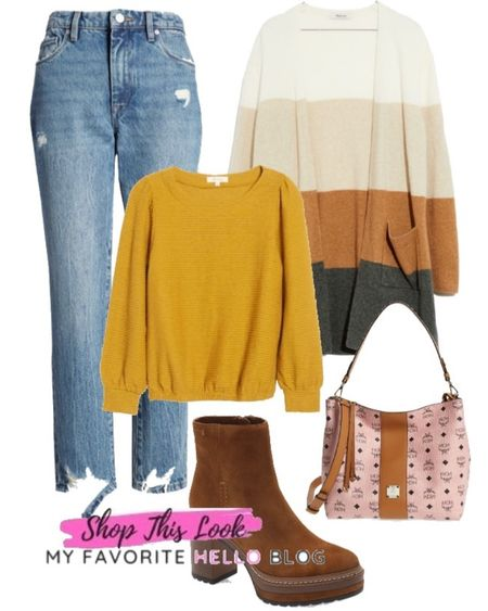Back to school outfit with jeans, sweater, cardigan and platform boots. Back to school outfit for fall. #backtoschool #falloutfit  #LTKsalealert #LTKstyletip #LTKitbag