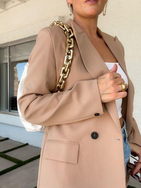 This blazer goes with everything and is great quality for the price! #blazer #oversized #amazonfashion #founditonamazon #fallfashion #fallstyle #bag #bralette   #LTKunder50
