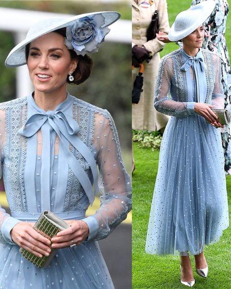 Kate Middleton in Ellie Saab pussy bow dress (custom)/Philip Treacy Hat/Ellie Saab Metallic Clutch/Gianvito Rossi 105 Metallic Pumps/Kiki Topaz Diamond Drop Earrings http://liketk.it/2Gcii #liketkit @liketoknow.it