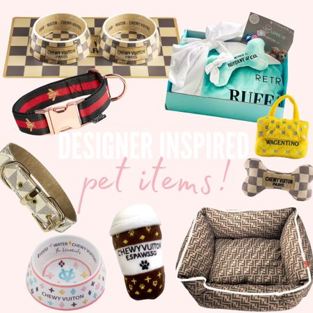 Designer Inspired pet items from Etsy! How cute are these LV inspired dog toys and the gucci collar?! #pet #designerinspired #inspired #pets #etsy  #LTKhome #LTKSeasonal #LTKunder100