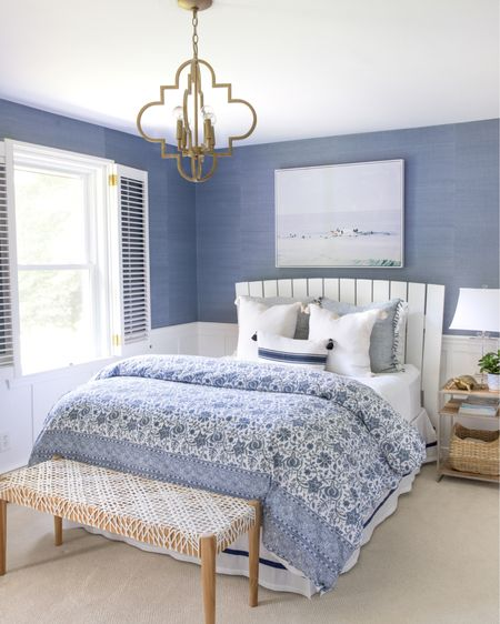 Our blue and white bedroom with bench, pendant light, table lamp, art, and pillows.  (Home decor ideas), bedroom decor, Amazon finds)  #LTKhome #LTKunder100 #LTKsalealert
