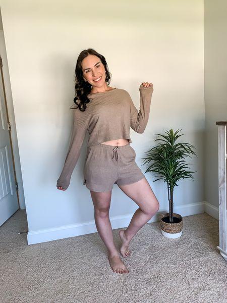 Women's Waffle Knit Pajama Set Long/Short Sleeve Top and Shorts Lounge Sleepwear with Pockets is super comfy! | pjs | two piece set | amazon | under 30  #LTKcurves #LTKstyletip #LTKunder50