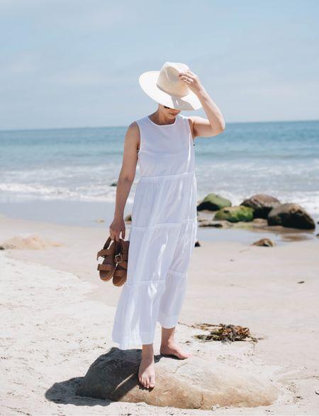 Madewell sale.   Dress - Madewell xxs Sandals - Madewell 5 Hat - Janessa Leone   #LTKsalealert #LTKbump