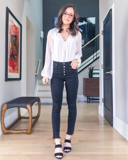 My new favorite Abercrombie jeans! I love the button fly and raw hem on these black ankle jeans. Paired it with my go-to white chiffon dot bodysuit, also from Abercrombie. It's so fun and surprisingly comfortable! Everything at Abercrombie is currently buy one get one 50% off!!!   Bodysuit: XS Button-Fly Jeans: 25/0 Heels: 6.5   http://liketk.it/2Juwu #liketkit @liketoknow.it #LTKstyletip #LTKsalealert #LTKshoecrush