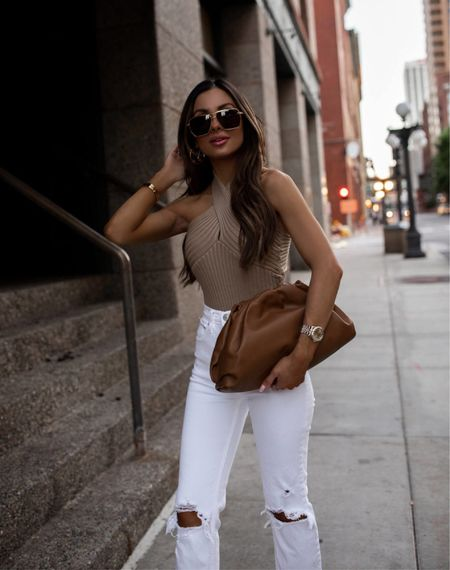 Summer outfit Goodnight Macaroon camel halter top on sale with code MARIA40 Abercrombie white jeans Bottega Veneta The Pouch Bag  Bottega Veneta sunglasses    #LTKunder50 #LTKstyletip #LTKsalealert