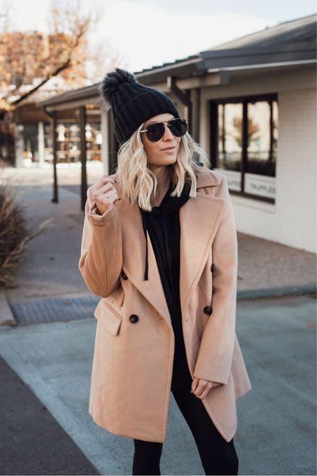 Black hoodie sweatshirt with leggings and a camel coat 🖤🖤🖤  #LTKstyletip #LTKunder100 #LTKSeasonal