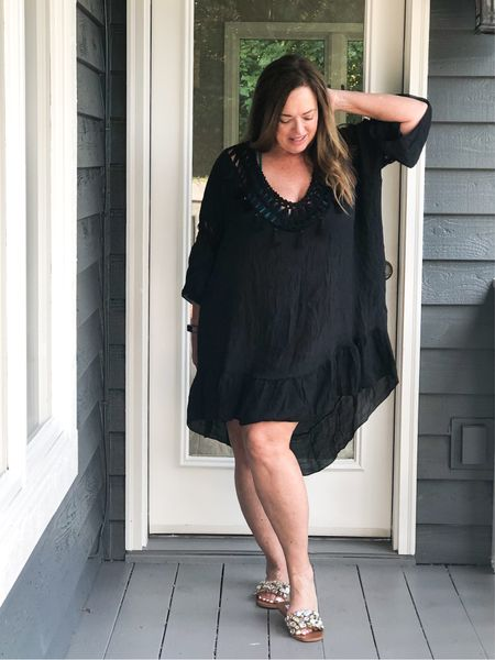 I love a lightweight swimsuit cover up! Under $21.00 and the low exposed back detail is so pretty!  My crystal studded flats are on major Sale! My daughter and best friend have them so you know they are good!  #LTKswim #LTKcurves #LTKSeasonal