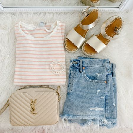 Cute and casual spring outfit from Target! My favorite jean shorts from last year with a neutral cross body bag, basic striped tee, and gold platform espadrille sandals   #LTKspring #LTKshoecrush