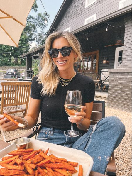 🍟🍷 Fries & wine taste better in the mountains ⛰ Here for the next few days & just checked into our little treehouse Airbnb 🌳 Sharing on stories! Hope y'all are having a great weekend 😘 #blowingrocknc #mountaintrip   #LTKunder50 #LTKunder100