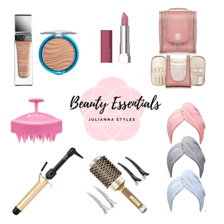 My all time favorite and daily Amazon beauty essentials from foundation, makeup, lipstick, curling iron, hair wraps, hair brush, travel case, makeup bag, travel bag, scalp massager  #LTKunder50 #LTKstyletip #LTKbeauty