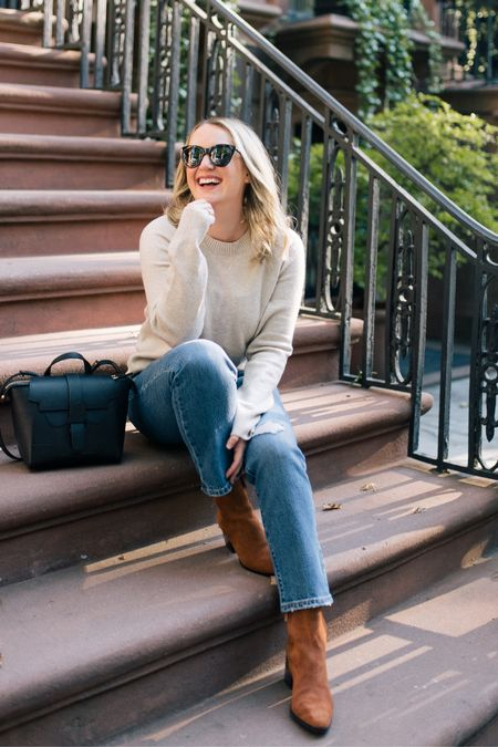 Amazon Fashion sweater (L) Levi's straight leg jeans Senreve crossbody bag satchel J.crew boots Ankle booties Suede boots   #LTKSeasonal #LTKunder50
